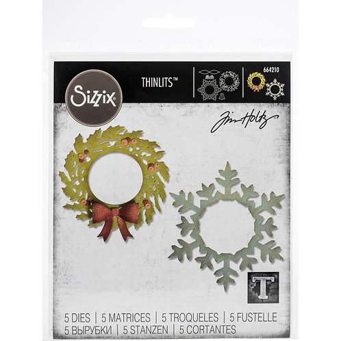 Sizzix Thinlits Dies By Tim Holtz Wreath and Snowflake