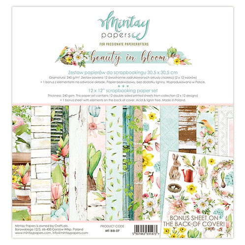 "Beauty in Bloom Mintay 12"" x 12"" paper set"