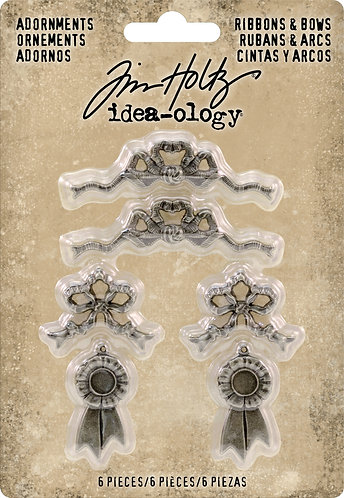 Idea-Ology Metal Adornments 6/Pkg-Ribbons & Bows
