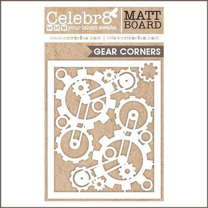 Title Chipboard Celebr8 Cog Corners