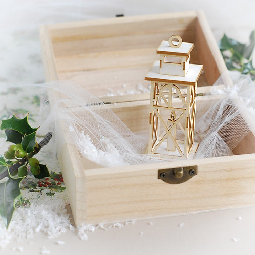 Christmas Collection 3D Lantern with candle decorative laser cut chipboard eleme