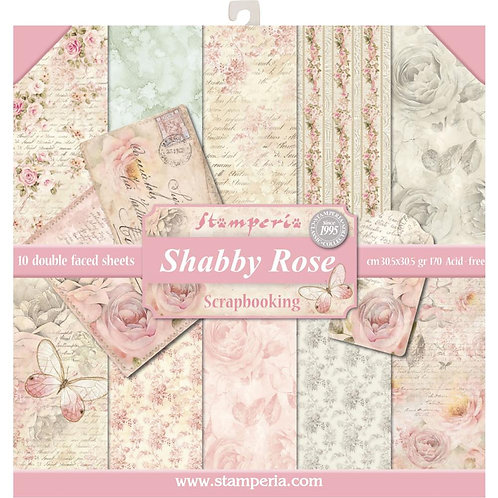 "Stamperia Double-Sided Paper Pad 12""X12"" 10/Pkg - Shabby Rose"