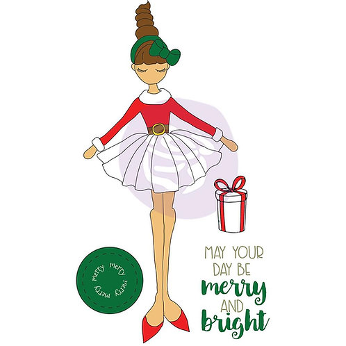 Julie Nutting Mixed Media Cling Rubber Stamps - Merry