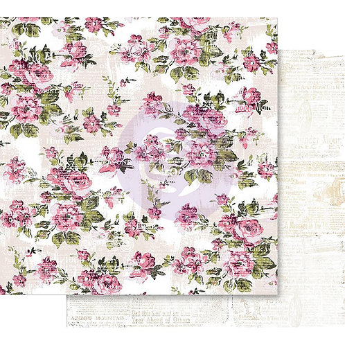 "Prima Misty Rose Foiled Double-Sided Cardstock 12""X12"" Memorable Floral Wall"