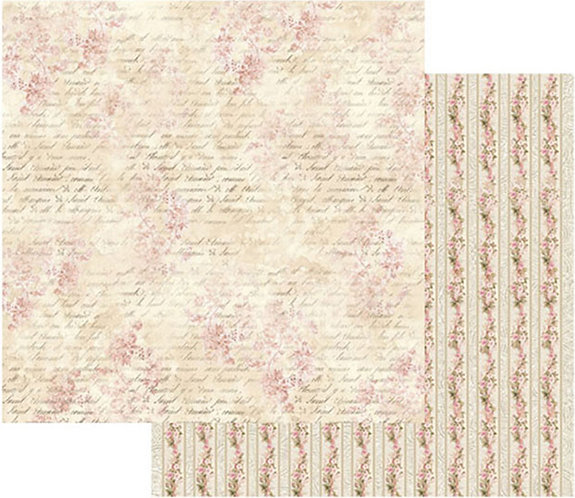 "Stamperia Double-Sided Cardstock 12""X12""-Pink Buttercup With Writing"