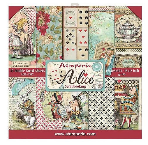 """Stamperia Double-Sided Paper Pad 12""""X12"""" 10/Pkg Alice"""