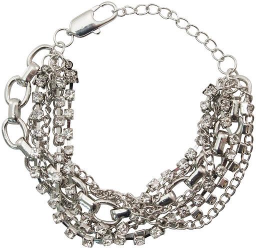 Tim Holtz Assemblage Bracelet  -Silver Multistrand W/Lobster Enclosure