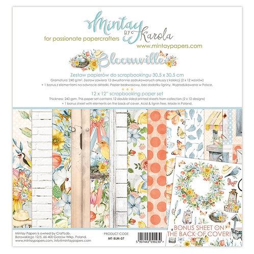 "Bloomville Mintay Scrapbook Paper Pack 12"" x 12"""