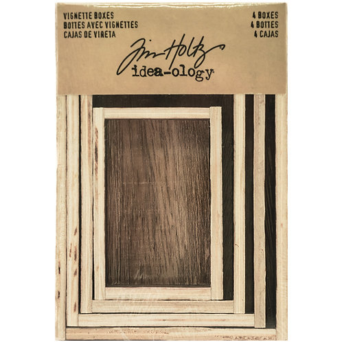 Idea-Ology Wooden Vignette Boxes 4/Pkg-Brown