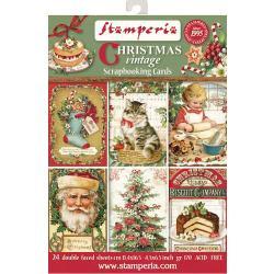 "Stamperia Cards Pad 4.5""X6.5"" 24/Pkg Christmas Vintage"
