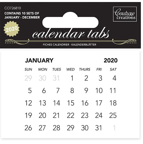 Calendar Tabs 2020 (10 sets of 12 months)
