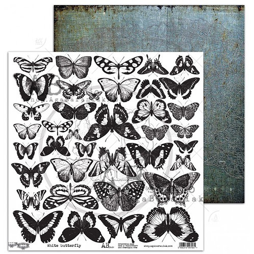"""White Butterfly elements AB Studio 12"""" x 12"""" papers"""