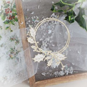 Frame with holly branch  – Decorative laser cut chipboard element.