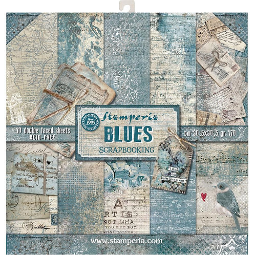 "Stamperia Double-Sided Paper Pad 12""X12"" - Blues"