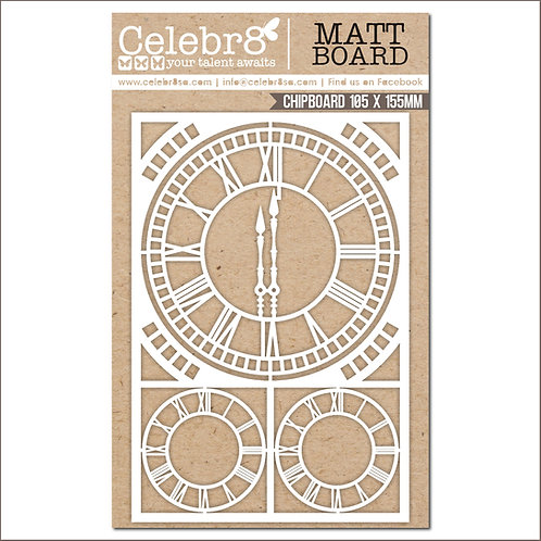Title Chipboard Celebr8 Clock Elements