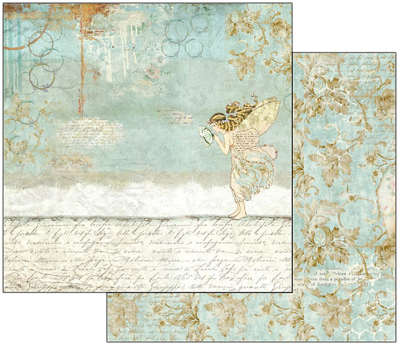 """Stamperia Double-Sided Cardstock 12""""X12""""-Wonderland Fairy & Writing"""