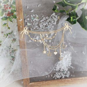 Christmas garland with hearts and stars  – Decorative laser cut chipboard elemen
