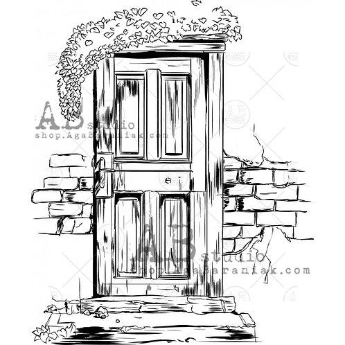 """Rubber stamp ID-477 """"vintage door"""" AB Studio"""
