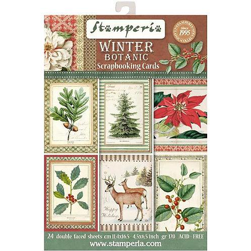 "Stamperia Cards Pad 4.5""X6.5"" 24/Pkg Winter Botanic"