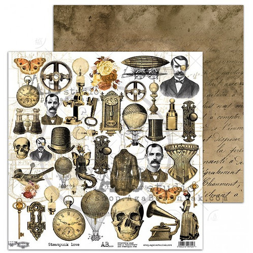 Steampunk love elements - AB Studio - 12' x 12' pages