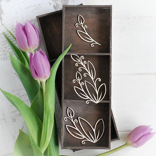 Floral elements set 016 – Decorative laser cut chipboard