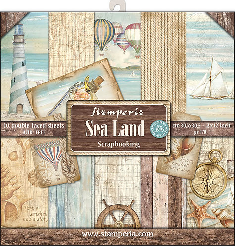 "Stamperia Double-Sided Cardstock 12""X12""-Sea Land Seagulls"