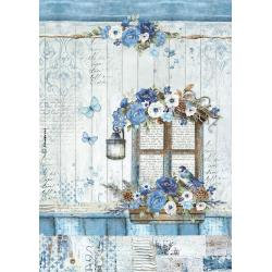 Stamperia Rice Paper Sheet A4 - Blue Window