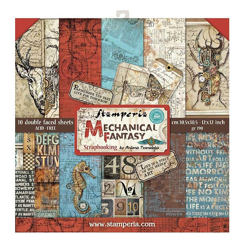 """Stamperia Double-Sided Paper Pad 12""""X12"""" 10/Pkg Mechanical Fantasy"""