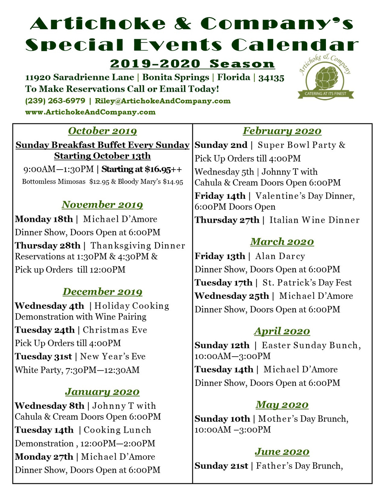 Special Events Calendar 2020 Special Events Calendar 2019 2020