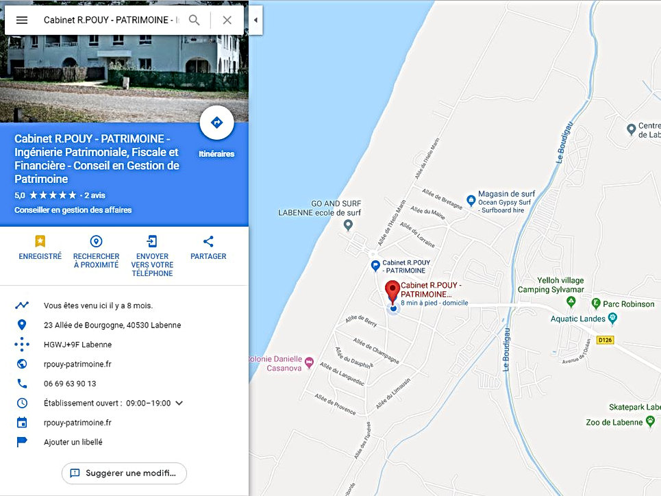 Carte localisation Cabinet R.POUY - PATR