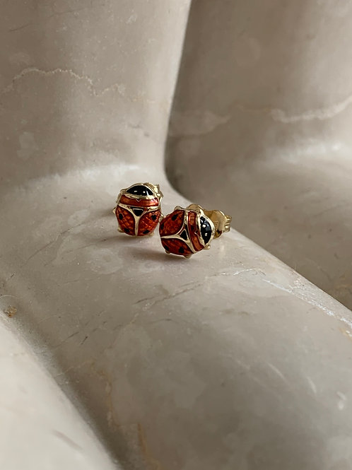 LadyBug Gold Earrings