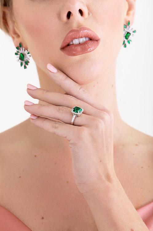 Green Emerald Halo Ring