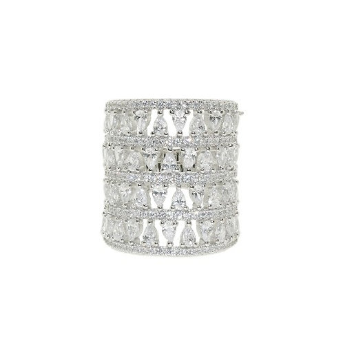 Silver Four layer CZ Cocktail Ring