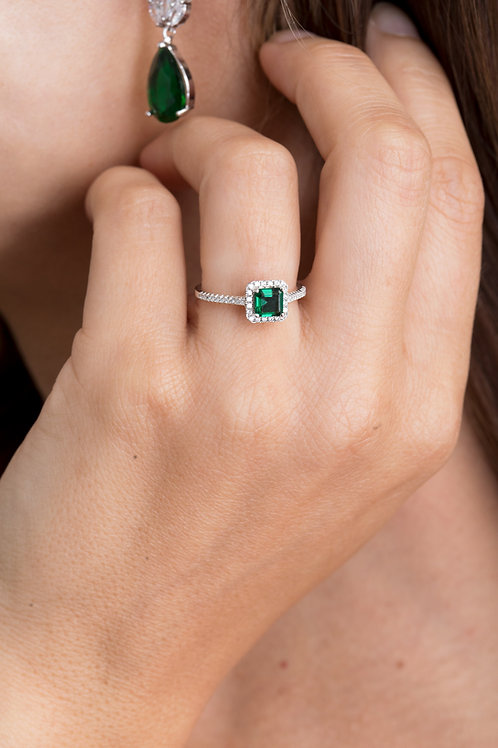 Silver Emerald Square Ring