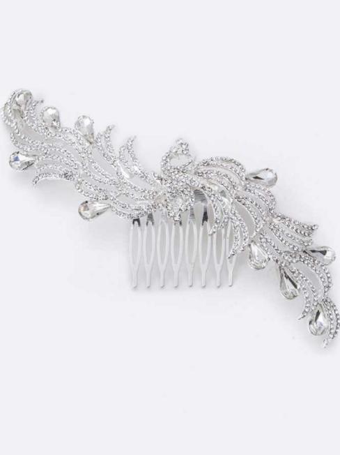 Peacock Crystal Comb
