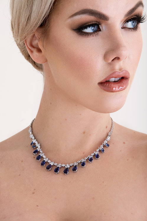 The Royal Blue Dimond Cut Necklace