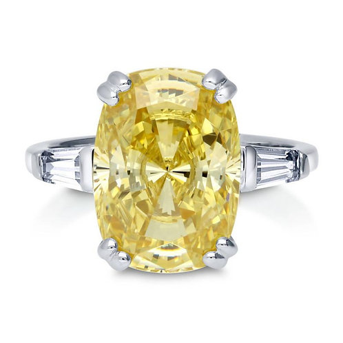 Canary Yellow Cushion Ring