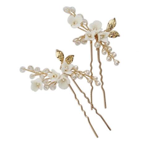 Golden Rose hair pins