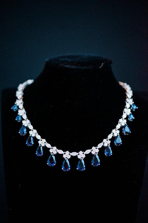 The Royal Blue Dimond Cut Necklace