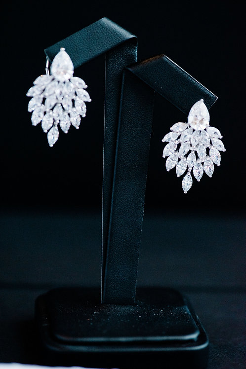 The Peacock Feather Crystal Earrings