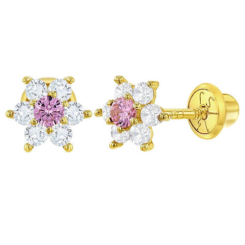 14k Gold Pink Flower Earrings