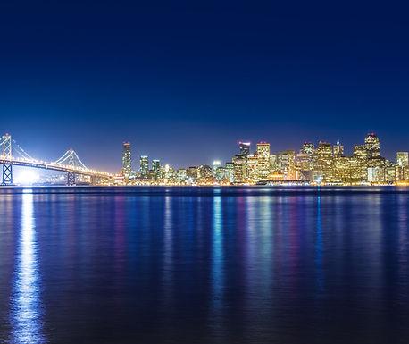 Bay Bridge and san Francisco skylight at night