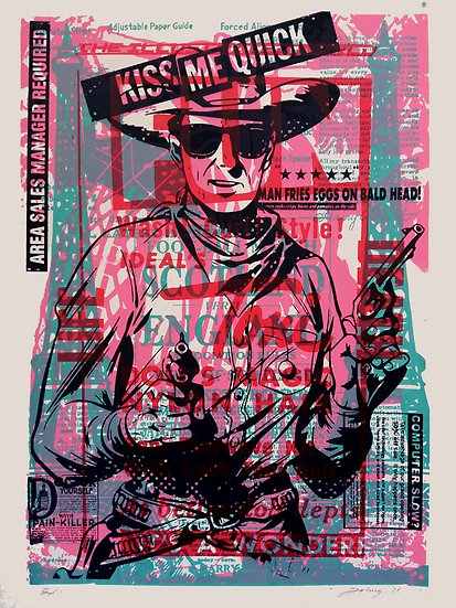 John Harrison artist Kiss me Quick screen print artwork