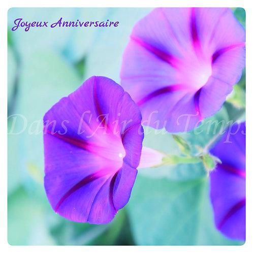 Carte photo Joyeux Anniversaire 10 fleurs pensées