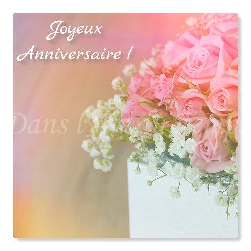 Carte photo Joyeux Anniversaire 6 Fleurs