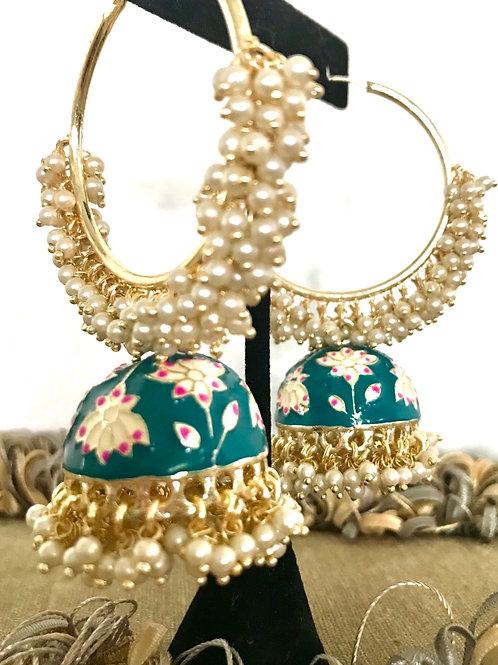 Designer Handpainter hoop earrings