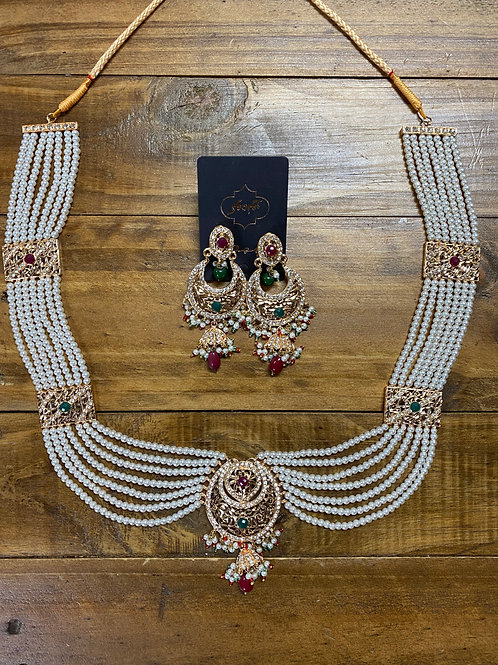 Long Necklace Set with Earrings