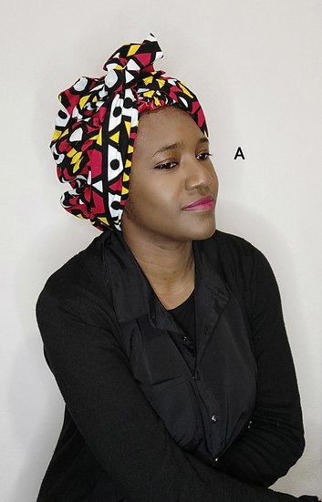 Grand bonnet-foulards en wax