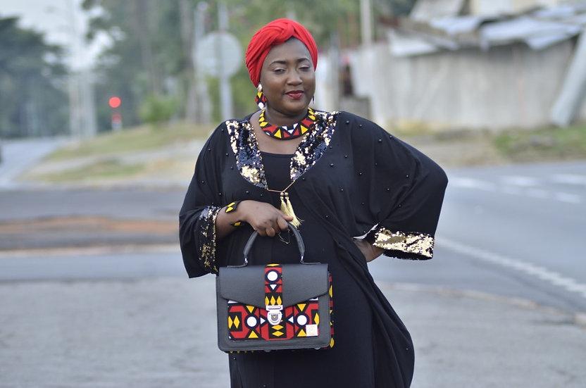 Ensemble bijoux+ Sac rouge bogolan (pour Abidjan)