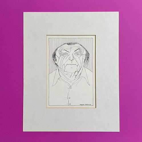 Originele tekening van Bert Schierbeek door Siegfried Woldhek